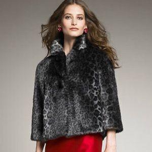 Kate Spade Amelia Faux Fur leopard Coat Sz XS